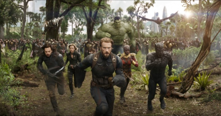 Marvel Studios' AVENGERS: INFINITY WAR..L to R: War Machine (Don Cheadle), Winter Soldier/Bucky Barnes (Sebastian Stan), Black Widow/Natasha Romanoff (Scarlet Johansson), Captain America/Steve Rogers (Chris Evans), Hulk (Mark Ruffalo), Okoye (Danai Gurira), Falcon (Anthony Mackie) and Black Panther/T'Challa (Chadwick Boseman)..Photo: Film Frame..©Marvel Studios 2018